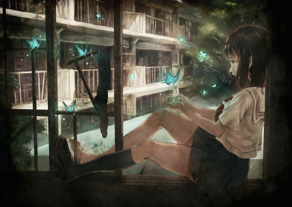 school uniforms socks buildings short hair sitting black hair butterflies original characters Yasukura (Shibu11) wallpaper