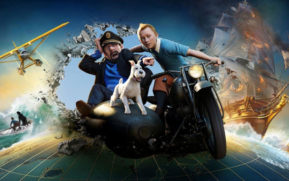 snow movies unicorns Tintin The Adventures Of Tintin Captain Haddock wallpaper
