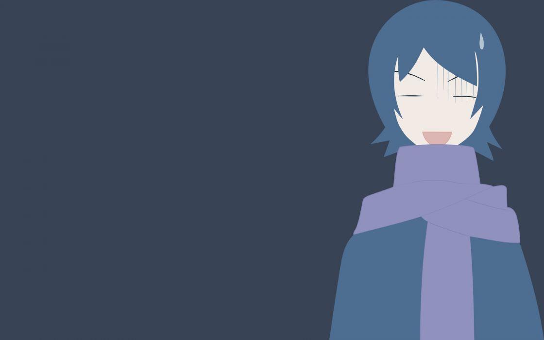 Sayonara Zetsubou Sensei blue hair short hair open mouth closed eyes scarfs sweat drop simple background anime girls embarrassment polychromatic blue background Hitou Nami wallpaper