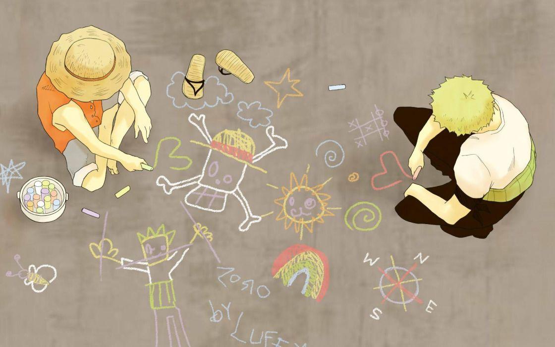 One Piece (anime) chalk Monkey D Luffy wallpaper