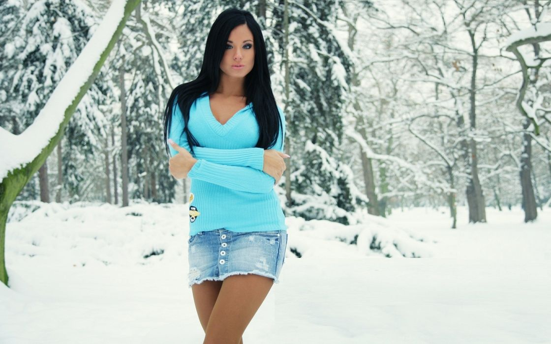 brunettes women snow models outdoors Ashley Bulgari miniskirts snow landscapes denim shorts wallpaper
