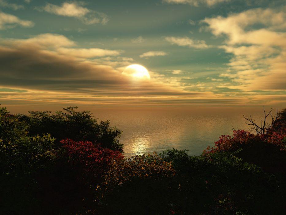 sunset nature sundown wallpaper