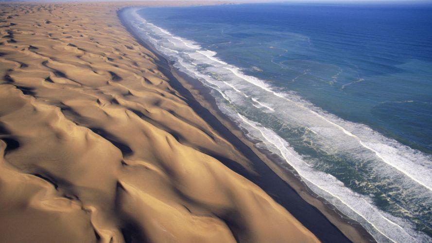 waves deserts Africa dunes Namib Desert wallpaper