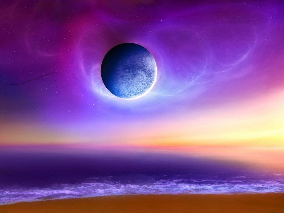 ocean outer space horizon planets Moon summer science fiction sea beaches wallpaper