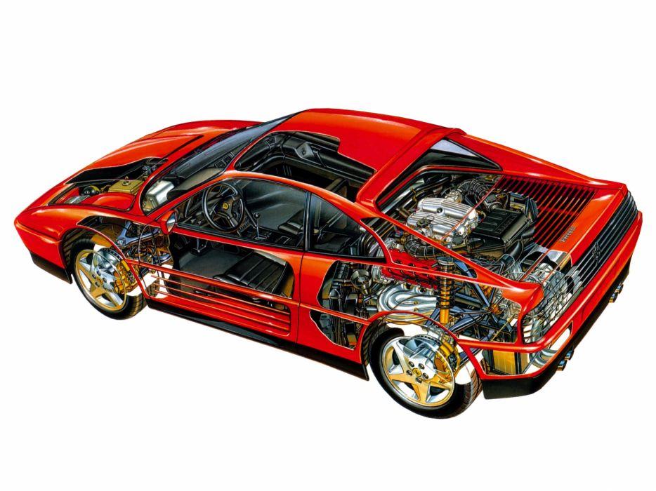 1989-93 Ferrari 348 T-B supercar 1989 1993 interior engine      f wallpaper