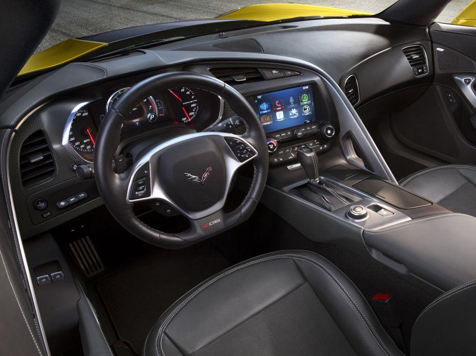 2015 Chevrolet Corvette Stingray Z06 (C-7) supercar muscle interior    g wallpaper