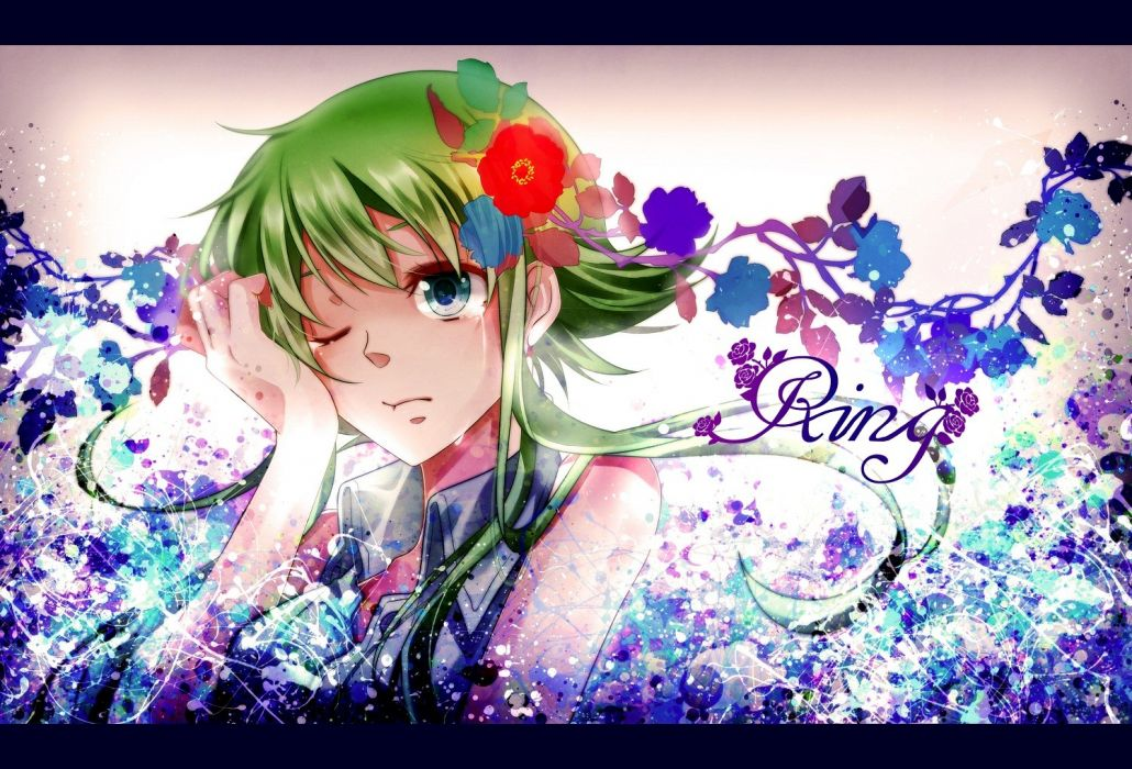 abstract Vocaloid flowers text blue eyes short hair green hair crying Megpoid Gumi hair ornaments wallpaper