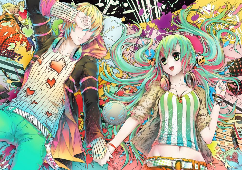 headphones blondes pants Vocaloid multicolor Hatsune Miku long hair belts green eyes couple short hair green hair twintails lying down hoodies open mouth hearts bracelets holding hands bicolored hair hair ornaments striped clothing sweatshirt original cha wallpaper