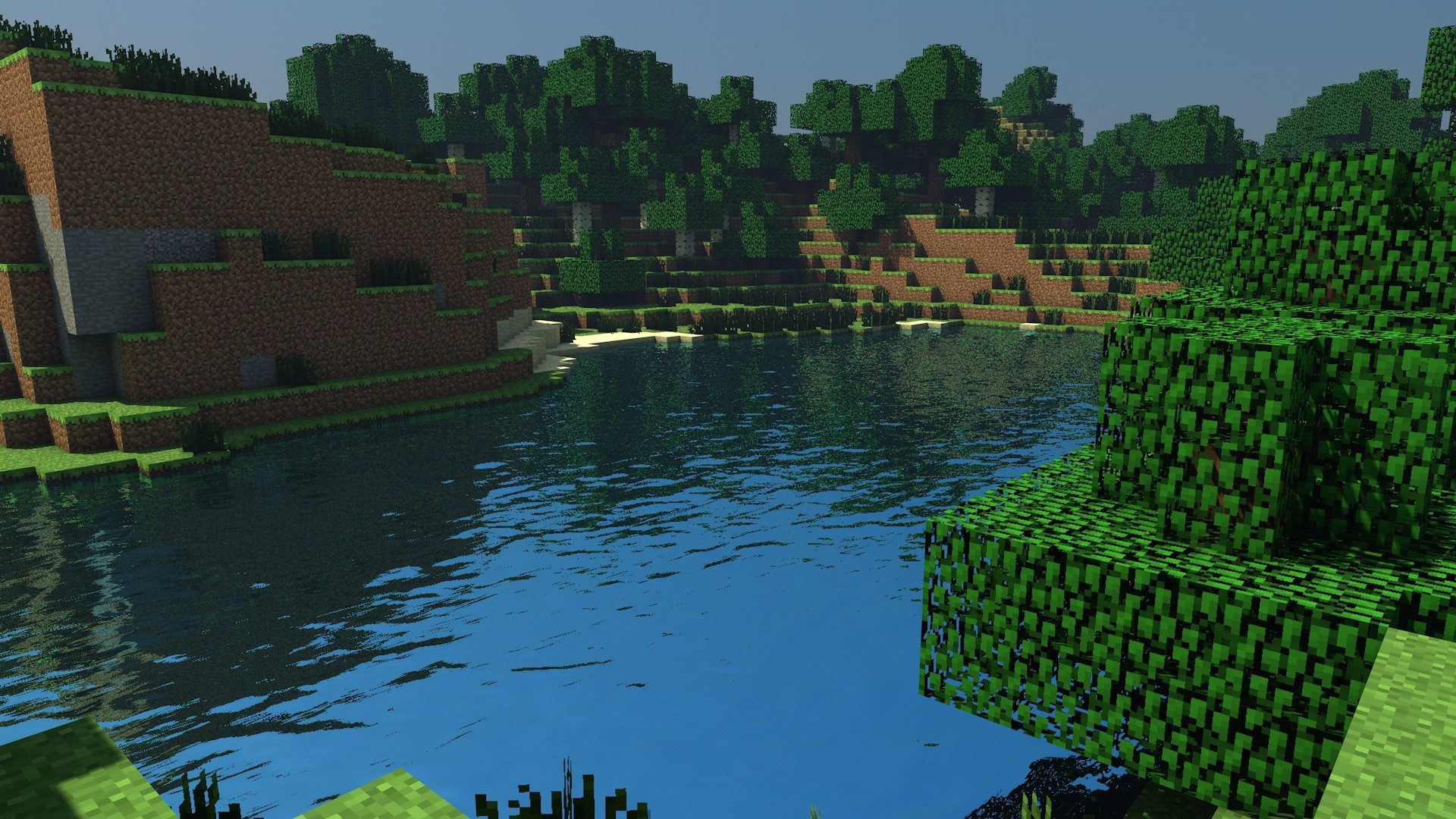 Water sand trees forests dirt minecraft cinema 4d tapeta for 4d wallpaper for home