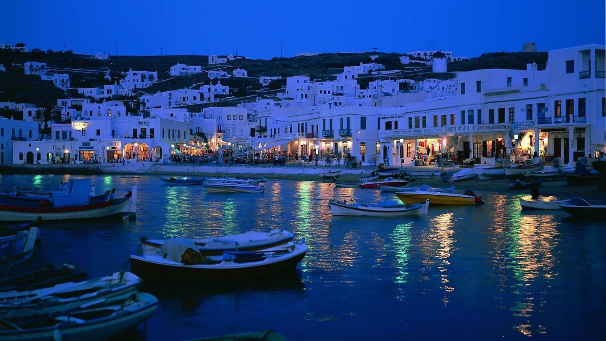 water night lights boats villages cities man-made wallpaper