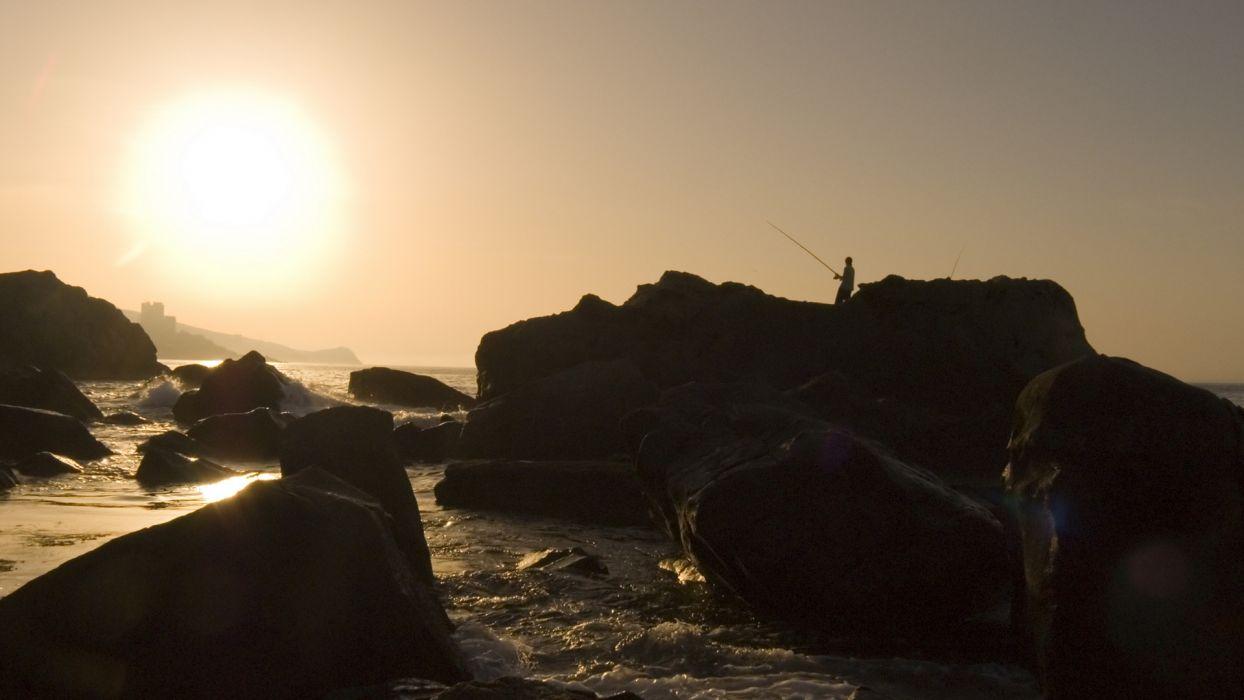 sunset ocean Sun fishermen wallpaper