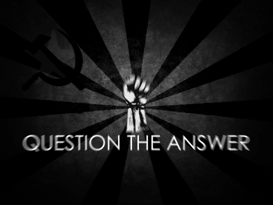 communism text fists grayscale The Question wallpaper