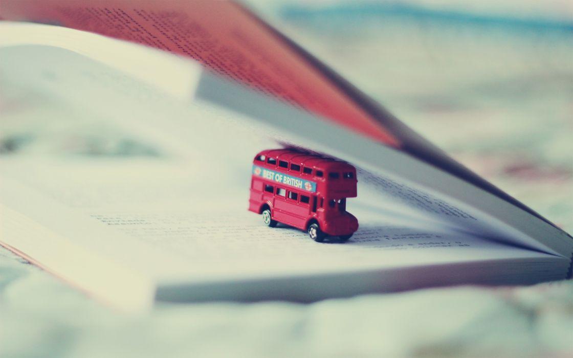 Minimalistic London Books Bus Objects Double Decker Bus Wallpaper