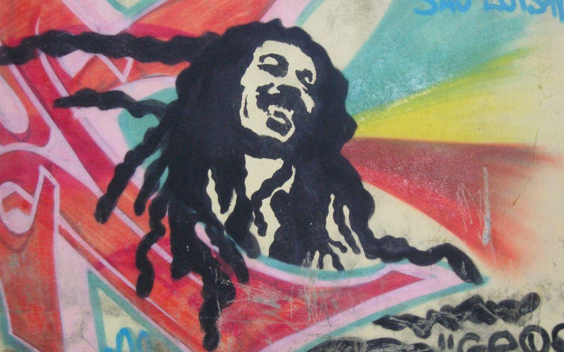 music graffiti Bob Marley music bands wallpaper