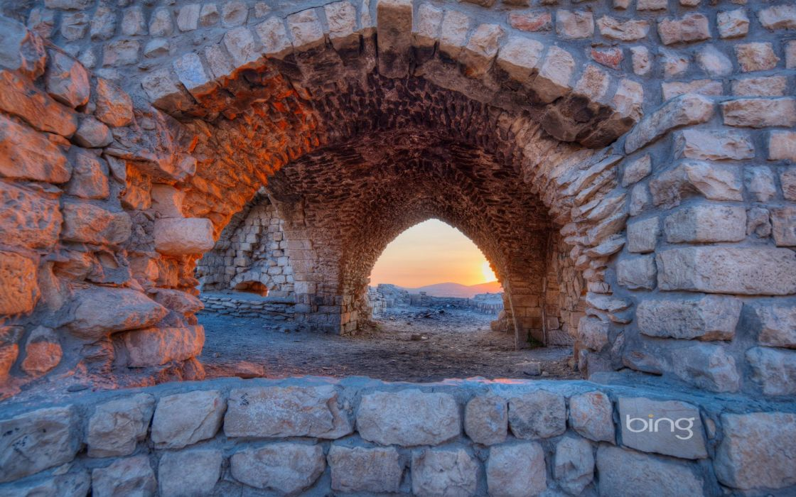 Sun ruins Israel Bing arches stone buildings wallpaper