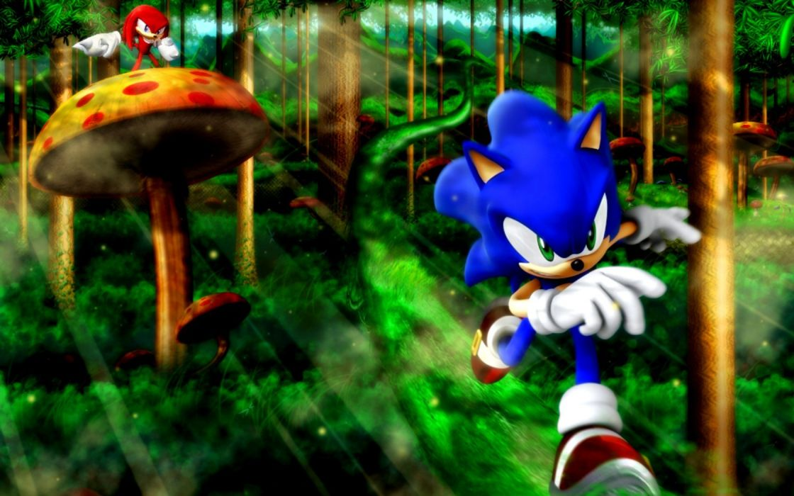 Sonic the Hedgehog video games forests mushrooms Knuckles the Echidna wallpaper