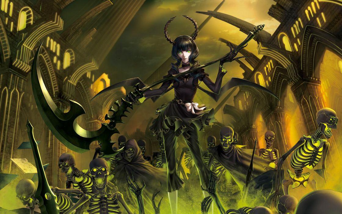 death Black Rock Shooter undead scythe Dead Master horns green eyes skeletons anime anime girls wallpaper