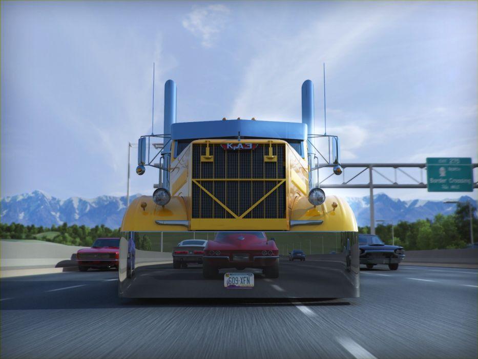 trucks highways Ukrainian KrAZ wallpaper