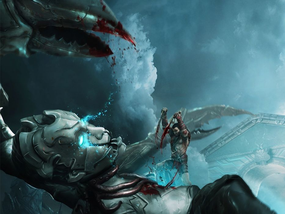 GODFIRE RISE OF PROMETHEUS fantasy sci-fi warrior battle robot monster    g wallpaper