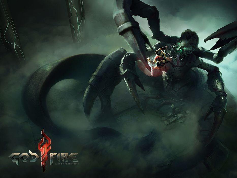 GODFIRE RISE OF PROMETHEUS fantasy sci-fi warrior monster dark       g wallpaper