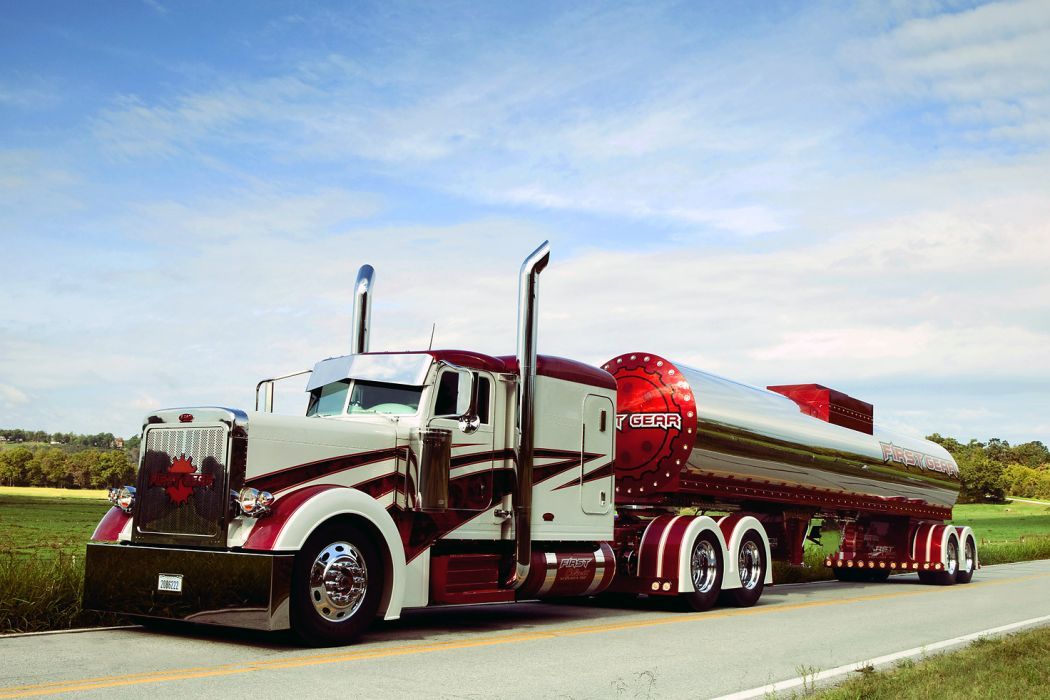 2005 Peterbilt 379 Red Candy And White With First Gear Tanker wallpaper