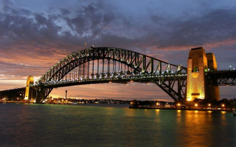 landscapes cityscapes towns skyscrapers Australia city skyline Sydney Harbour Bridge wallpaper