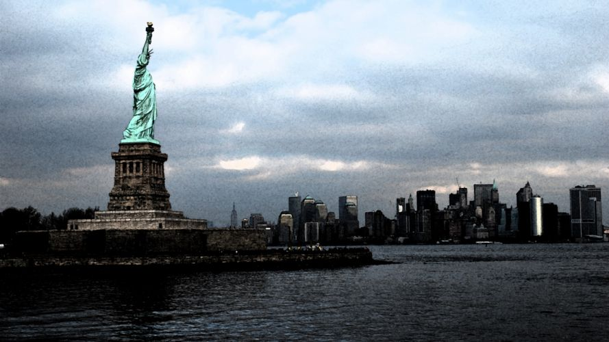 cityscapes New York City Statue of Liberty statues symbols man-made wallpaper