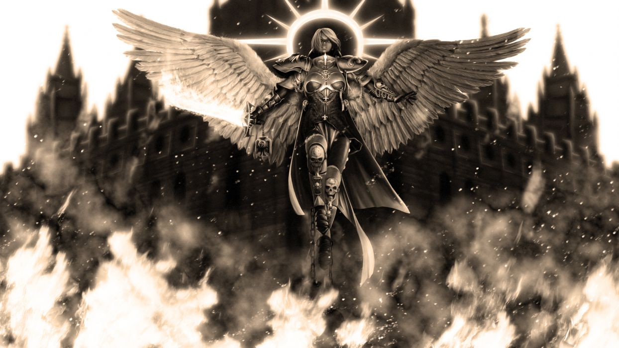 black and white inquisition Sisters Of Battle Warhammer 40 000 wallpaper