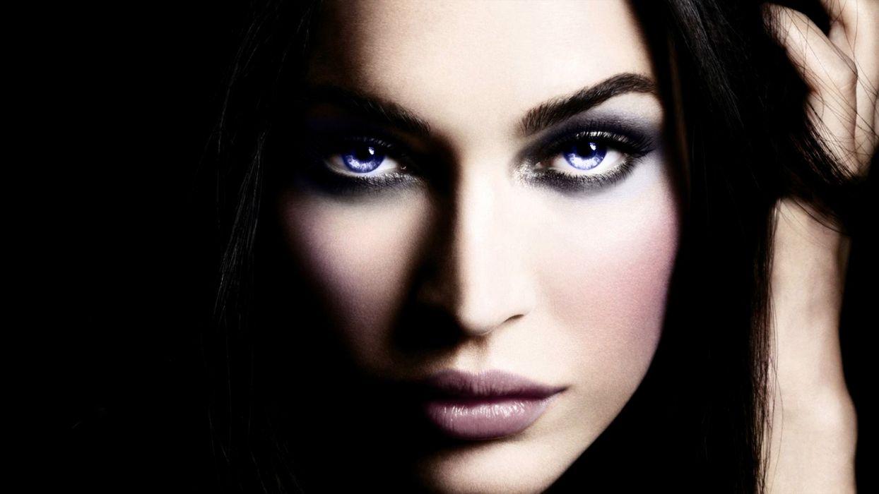 women close-up Megan Fox faces wallpaper