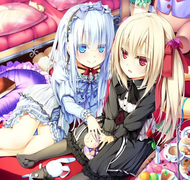 blondes blue eyes long hair ribbons blue hair books red eyes lolicon stuffed animals lolita fashion anime girls cakes wallpaper