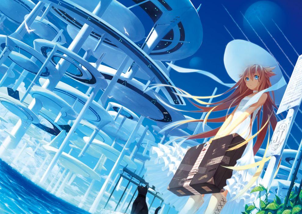 brunettes long hair hats anime girls original characters wallpaper