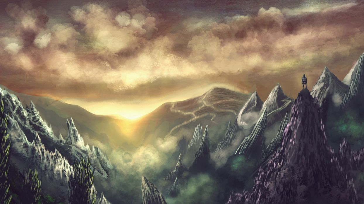 sunset mountains clouds landscapes lights wallpaper