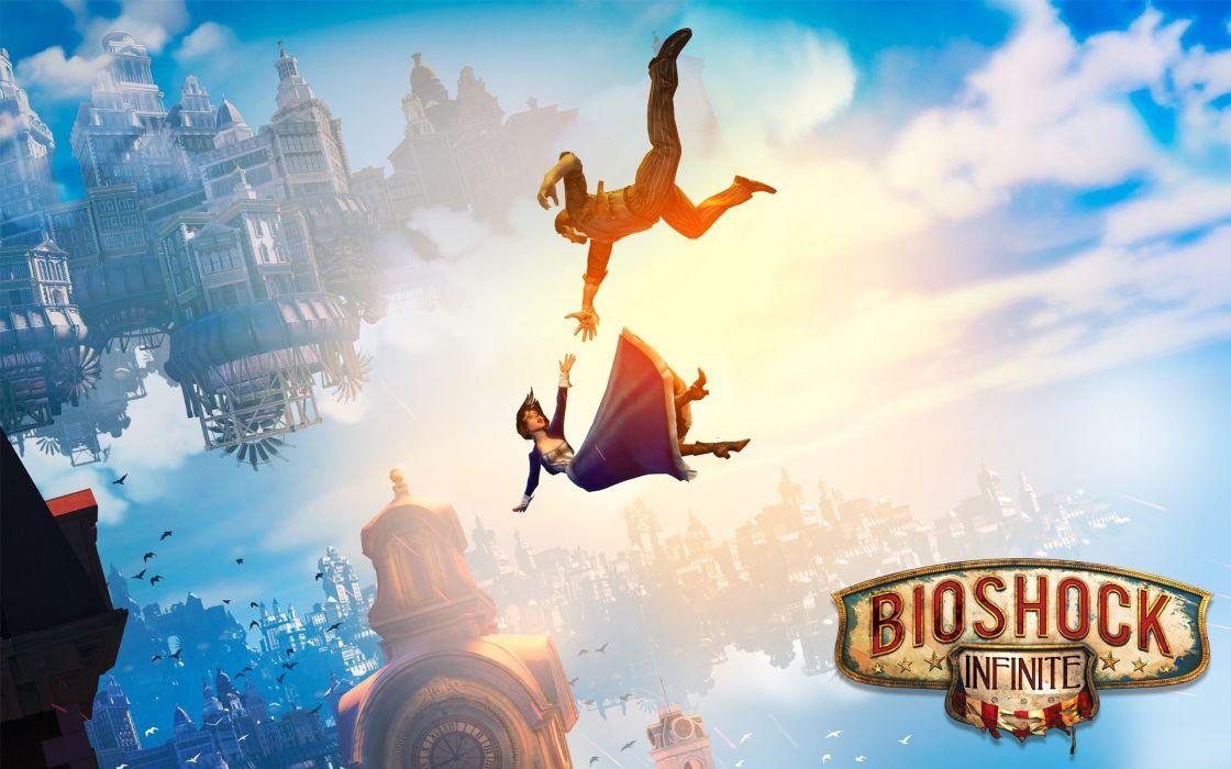 video games BioShock Bioshock Infinite falling Elizabeth Columbia Elisabeth booker wallpaper