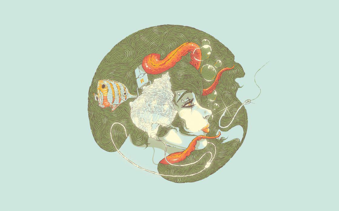 women minimalistic fish illustrations artwork wallpaper