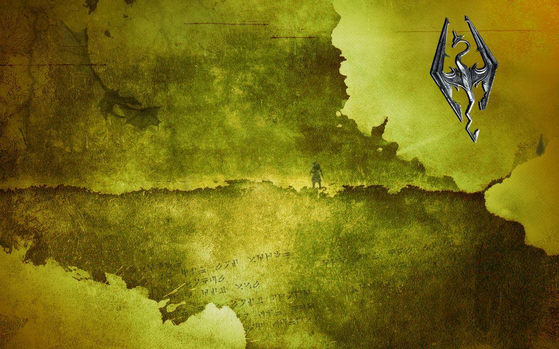 video games maps ancient The Elder Scrolls emblems lightning The Elder Scrolls V: Skyrim Dovahkiin Dragonborn wallpaper