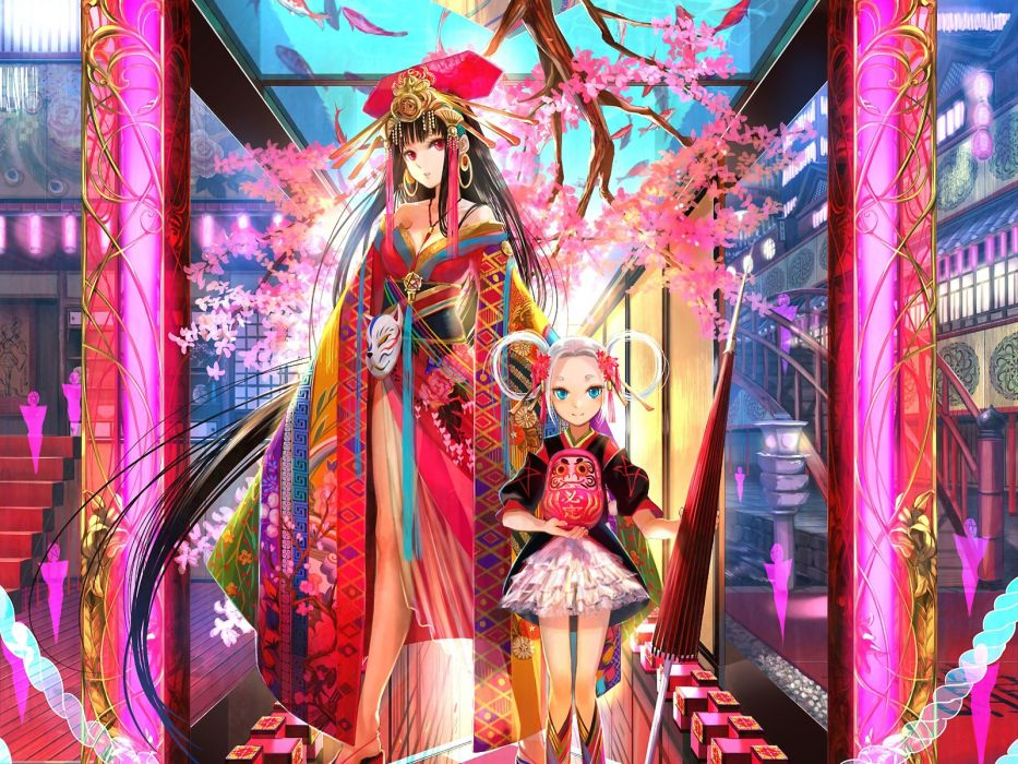 brunettes women fantasy lolitas cherry blossoms cityscapes multicolor blue eyes glass patterns cleavage houses Japanese long hair kimono red eyes masks earrings jewelry umbrellas white hair Fuji Choko east style Japanese clothes anime girls hair ornaments wallpaper