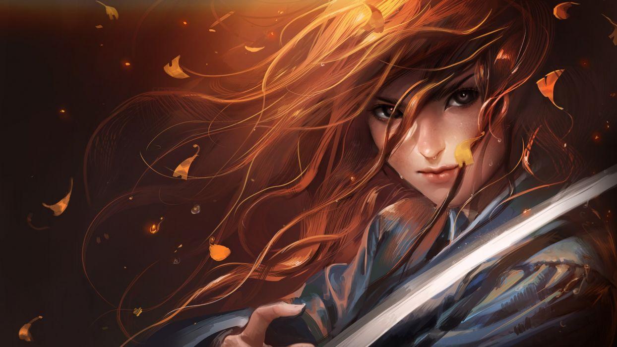 women red katana samurai Sakimichan wallpaper