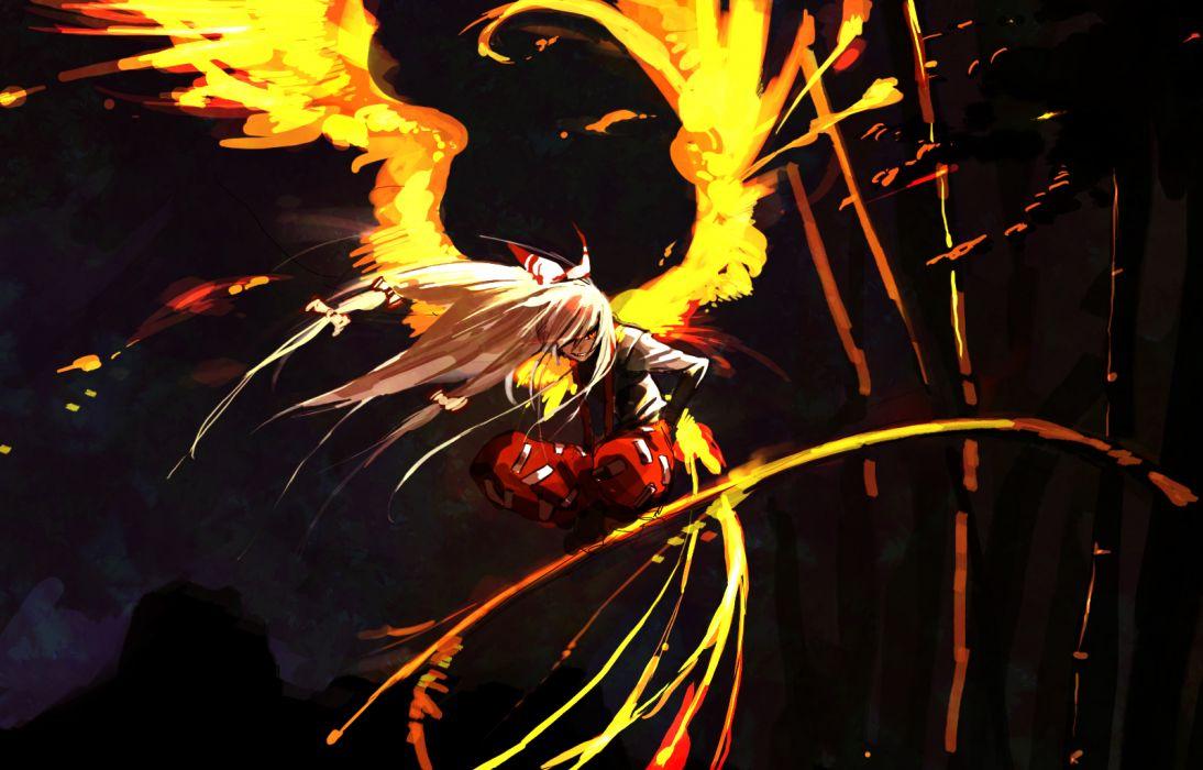Touhou wings fire Fujiwara no Mokou wallpaper