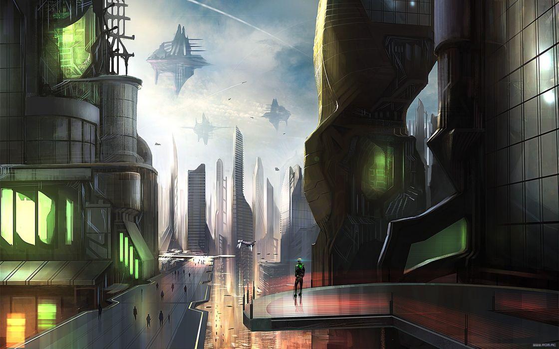 futuristic Pilot buildings spaceships science fiction hovercraft Romantically Apocalyptic Vitaly S Alexius skies Christophorus Pi Hatchenson wallpaper