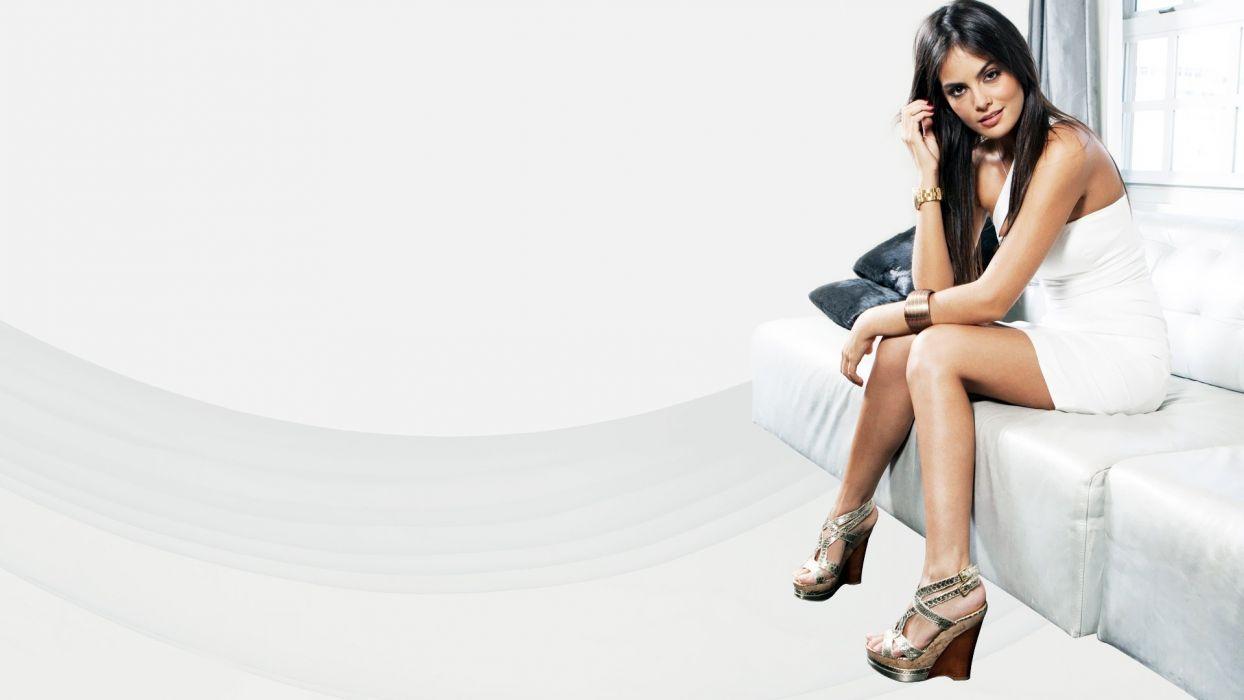 brunettes women dress models high heels white dress Ximena Capristo Ximena Navarrete wallpaper