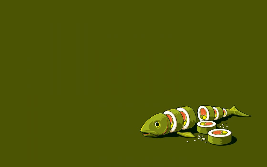 minimalistic vectors funny sushi Threadless wallpaper