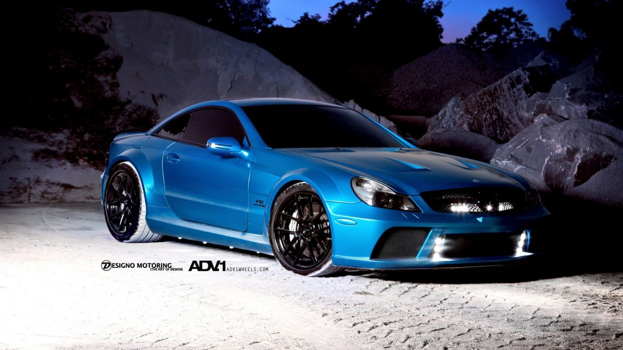 blue wheels SL65 AMG wallpaper