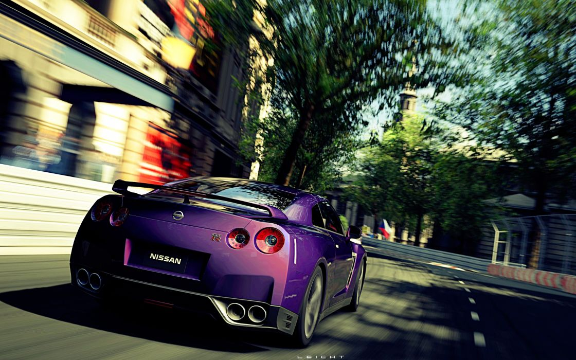 video games cars violet roads Gran Turismo 5 races Playstation 3 speed Nissan GT-R Mid Night Pearl wallpaper