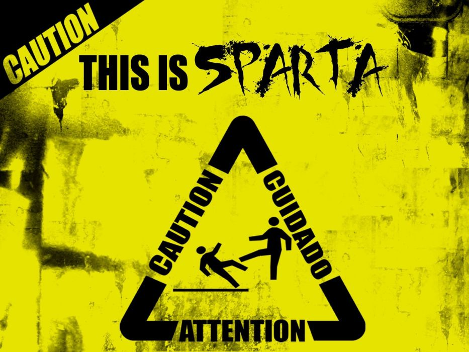 abstract 300 (movie) Sparta signs caution wallpaper
