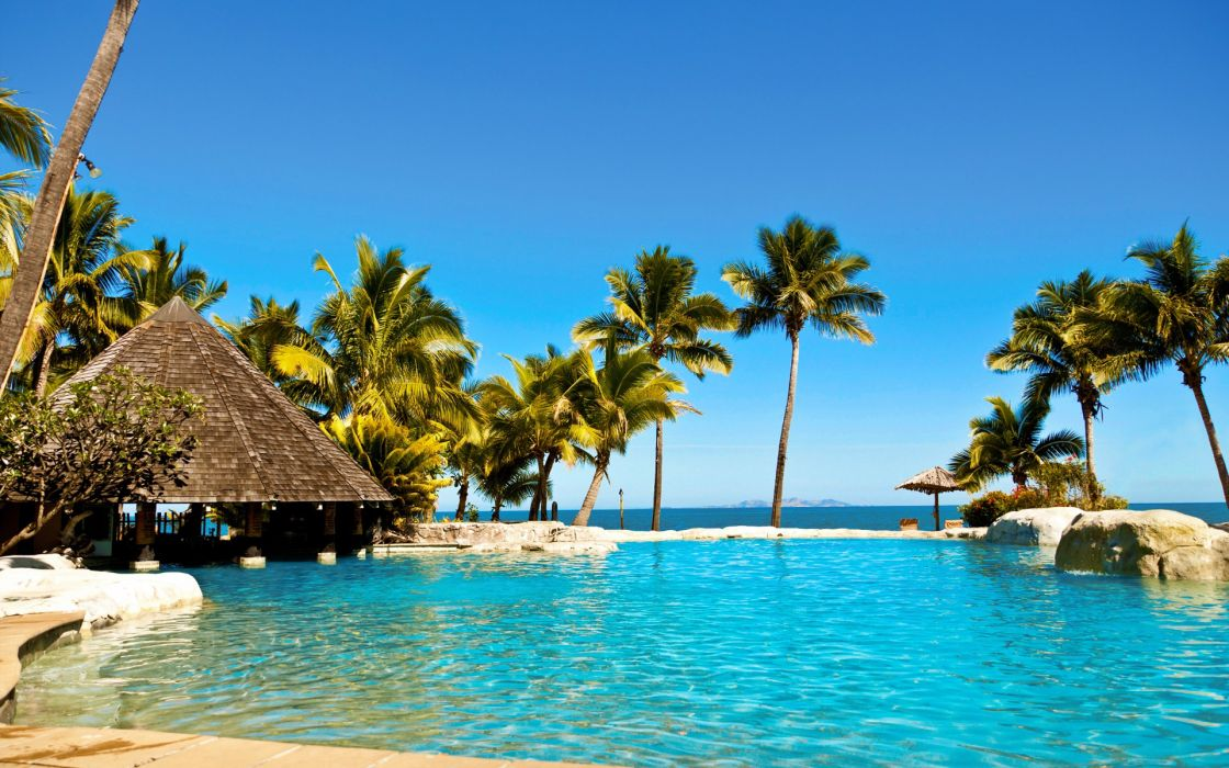 water ocean Sun summer tropical Fiji palm trees huts swimming pools hotels Fiji islands resort relaxation sea beaches wallpaper