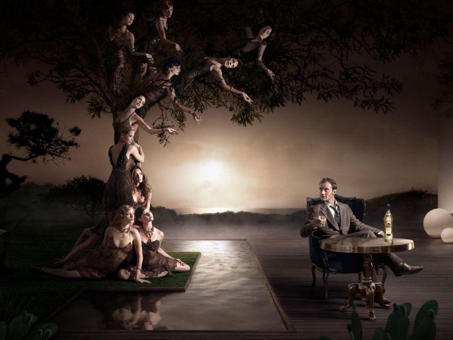 women trees lovers photo manipulation wallpaper