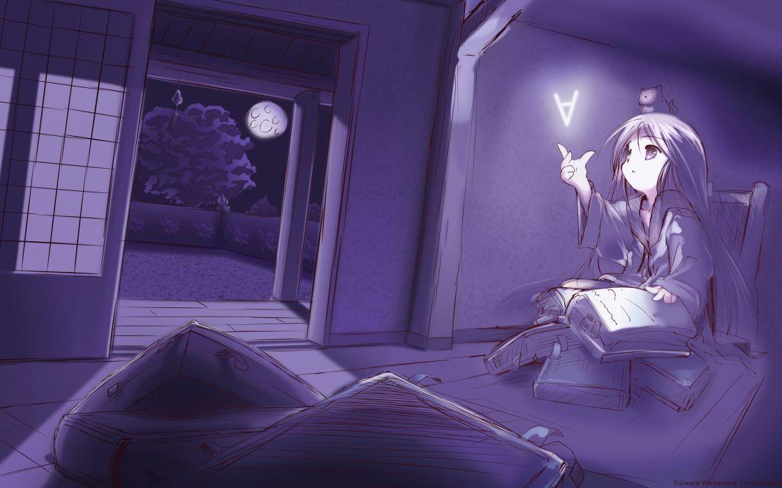 anime anime girls Warawara Fujiwara wallpaper