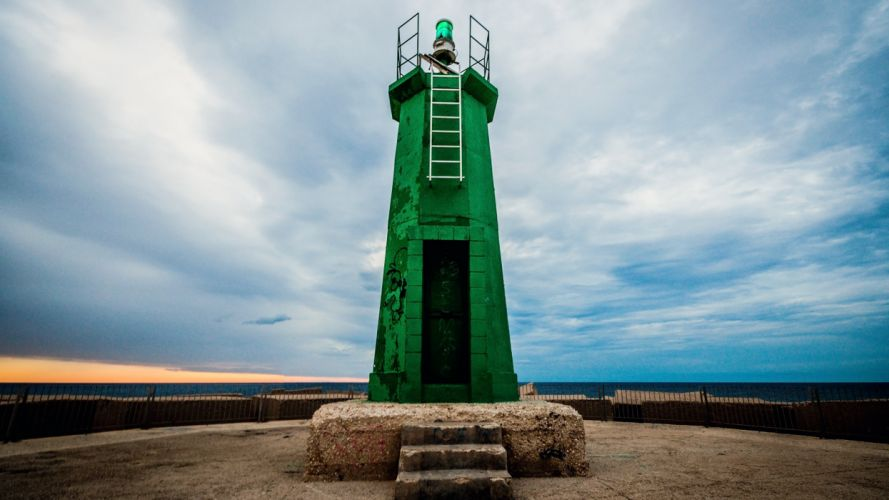 green landscapes lighthouses Spain harbours wallpaper