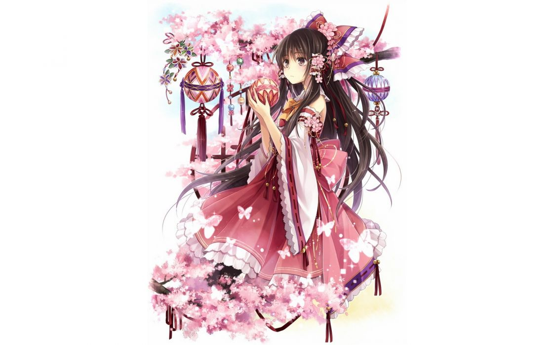 brunettes video games Touhou cherry blossoms flowers long hair brown eyes Miko Hakurei Reimu bows red dress Japanese clothes simple background detached sleeves branches white background hair ornaments Hagiwara Rin butterflies wallpaper