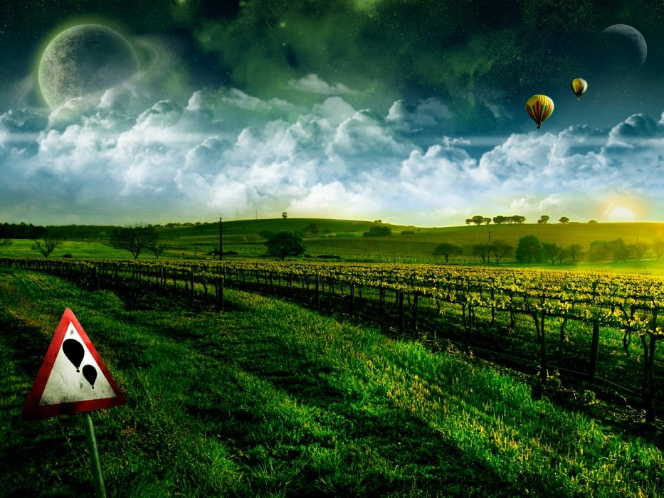 landscapes planets signs hot air balloons green field  wallpaper